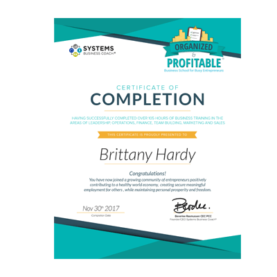 certificate of completion systems business coach