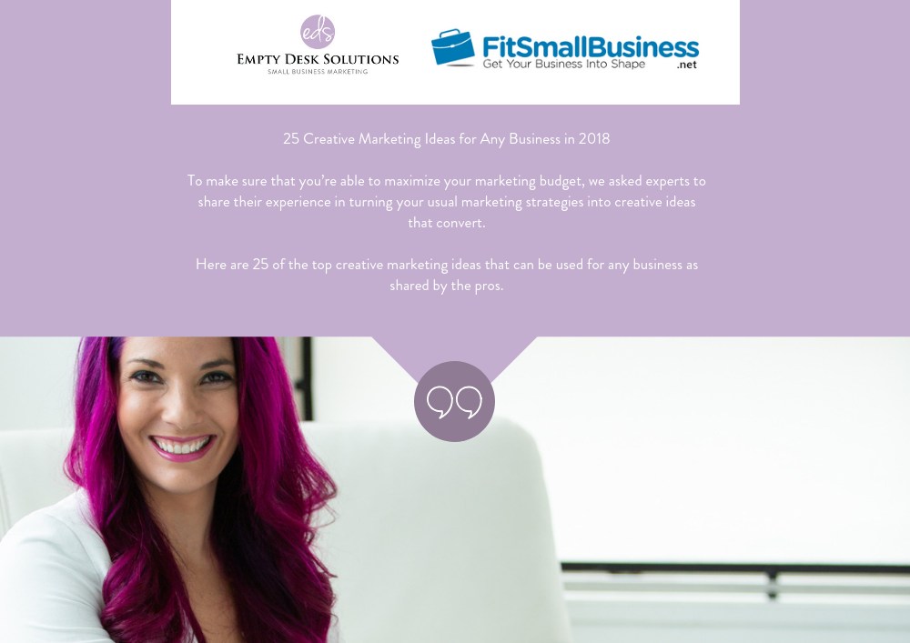 25 Creative Marketing Ideas for Any Business in 2018 – Brittany on FitSmallBusiness