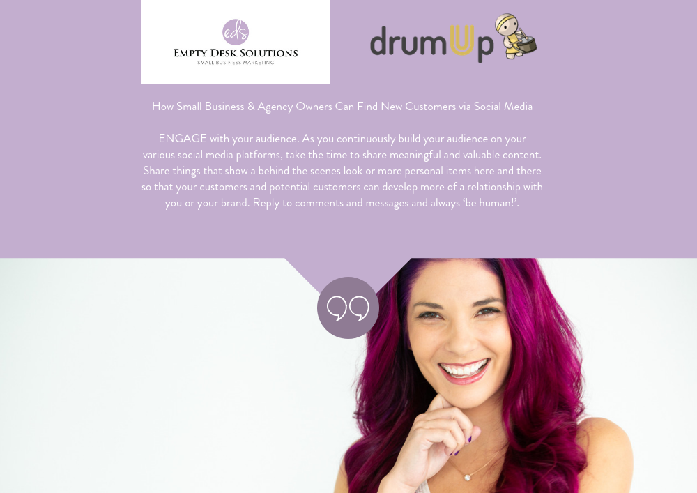How Small Business & Agency Owners Can Find New Customers via Social Media. Brittany on DrumUp
