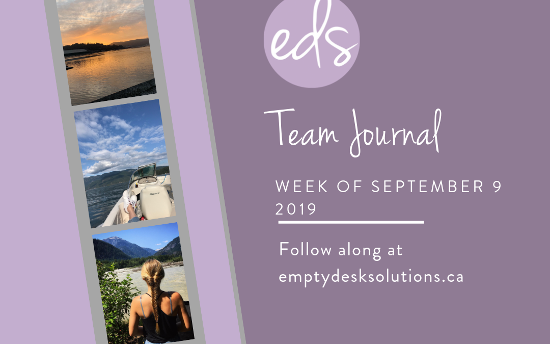 EDS Team Journal – Week of September 9, 2019