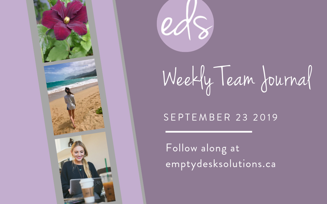 EDS Team Journal – Week of September 23, 2019