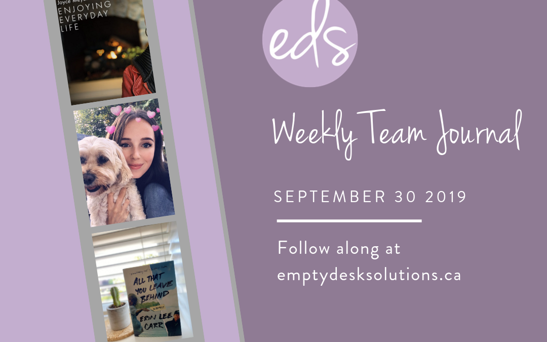 EDS Team Journal – Week of September 30, 2019